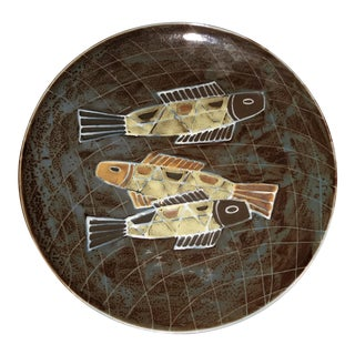 1960s Modernist Ceramic Fish Display Plate For Sale