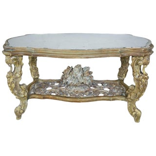 Carved French Rococo Style Tea Table With Silvered Mirror Top, Circa 1930s For Sale