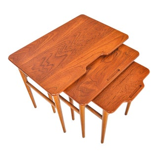Kurt Østervig Model 95 Teak + Oak Nesting Tables - 3 Pieces For Sale