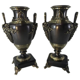 Grand Tour Etruscan Bronze Urns - A Pair