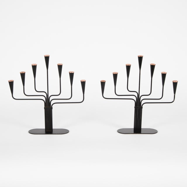 Pair of matching Gunnar Andersen for Ystad-Metall candelabrum in black enamel finish with copper accents. Each candelabrum...