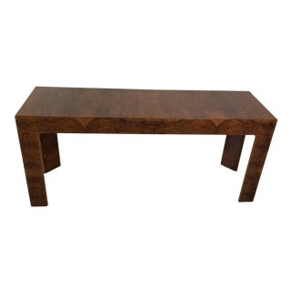 Milo Baughman Style Burl Wood Console Table For Sale