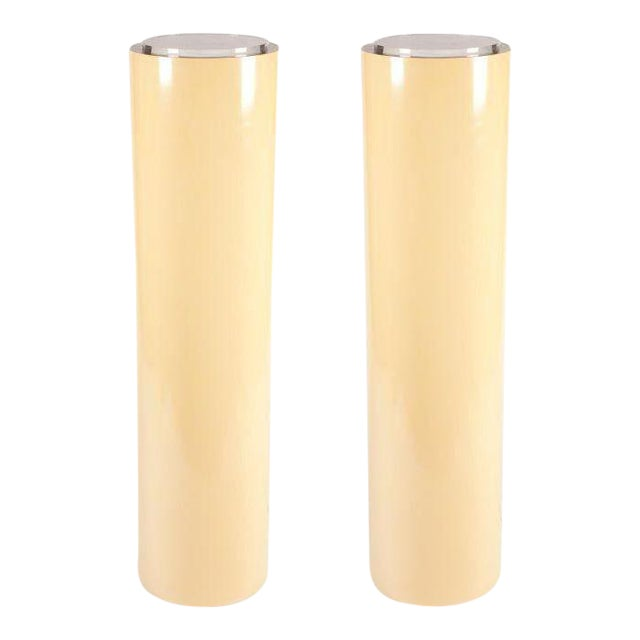American Tall Cylindrical Pedestal Display Lights - a Pair For Sale