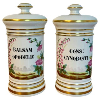 Pair of P. V. Limoges Floral Painted Apothecary Jars For Sale