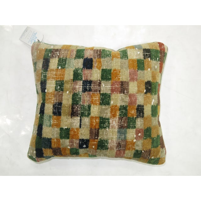 Turkish Checkerboard Rug Pillow - Image 3 of 3