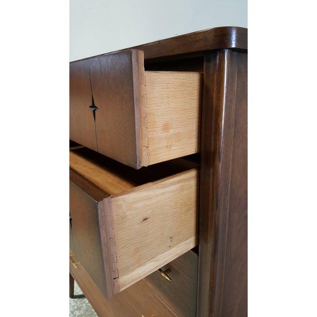 Mid Century Modern Broyhill Saga Walnut High Boy Dresser For Sale In San Francisco - Image 6 of 13
