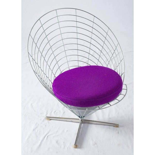 "Metal Verner Panton ""Wire Cone"" Chair For Sale - Image 7 of 11"