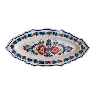 C. 1940 Large French Faience Quimper Floral Fish Platter For Sale