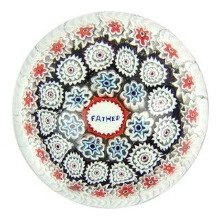 Fratelli Toso Murano Father Murrine Millefiori Flowers Italian Art Glass Paperweight For Sale