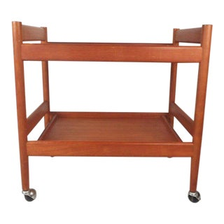 Vintage Modern Teak Bar Cart For Sale