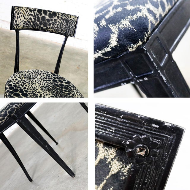 Pair Black Art Deco and Animal Print Side Chairs Cast Aluminum by Crucible Products For Sale - Image 9 of 13