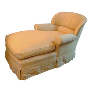 Cream Upholstered Down Filled Chaise Lounge Sofa