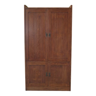 Stickley Mission Oak Arts & Crafts Tv Wardrobe Cabinet For Sale