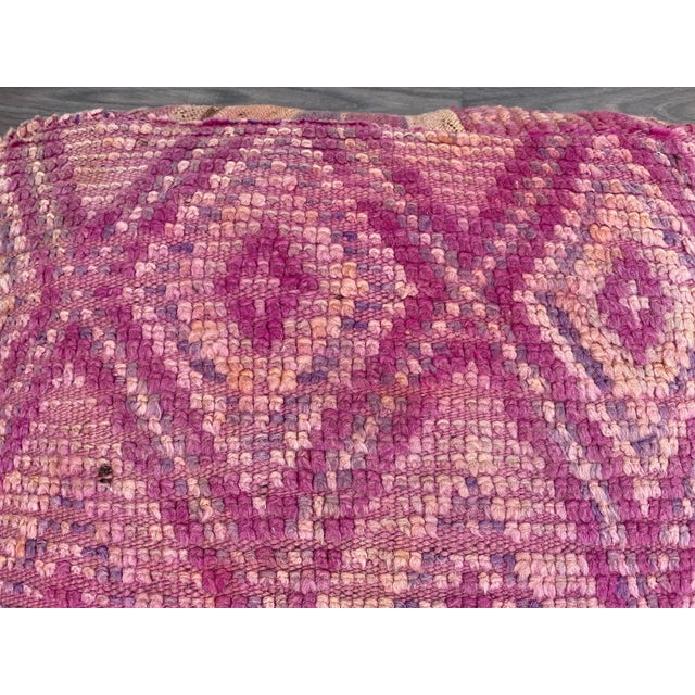 Textile Hand Woven Berber Moroccan Pouf Cover For Sale - Image 7 of 13