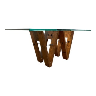 Industrial Reclaimed Wood & Glass V-Form Rectangular Dining Table For Sale