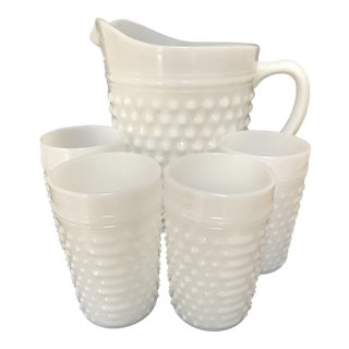 Fenton Vintage White Milkglass Hobnail Pitcher & Glasses For Sale