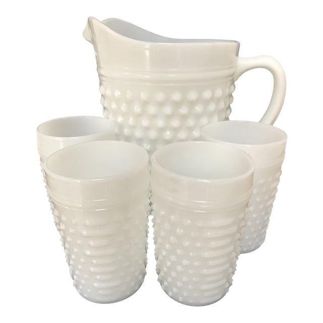 Fenton White Milkglass Hobnail Pitcher & Glasses For Sale