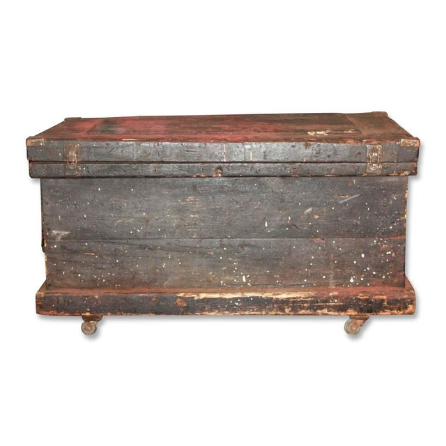 Antique 34.25 In. Distressed Wooden Black Trunk on Wheels For Sale - Image 9 of 9