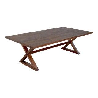 Minimalist X-Trestle Table in Black Walnut by Petersen Antiques For Sale