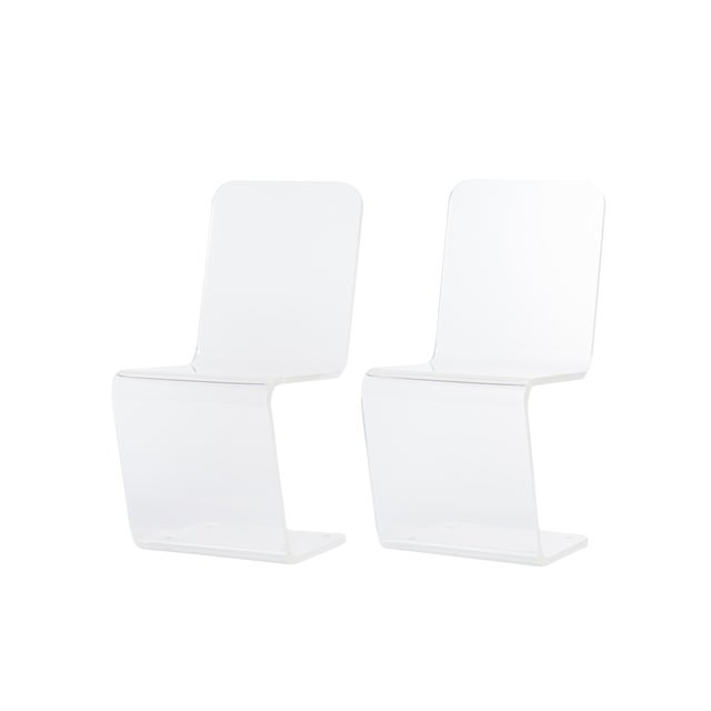 1970s Z-Shape Lucite Chairs - a Pair - Image 1 of 2