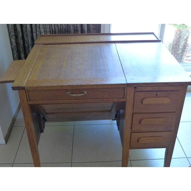 Early 20th Century Solid Oak Secretary Desk For Sale - Image 5 of 7