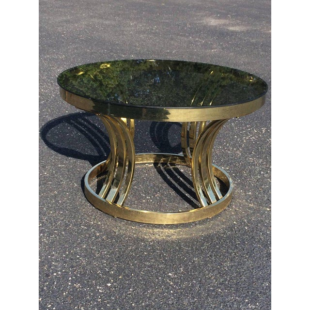 Milo Baughman Brass & Smoked Glass Round Coffee Table For Sale - Image 9 of 10