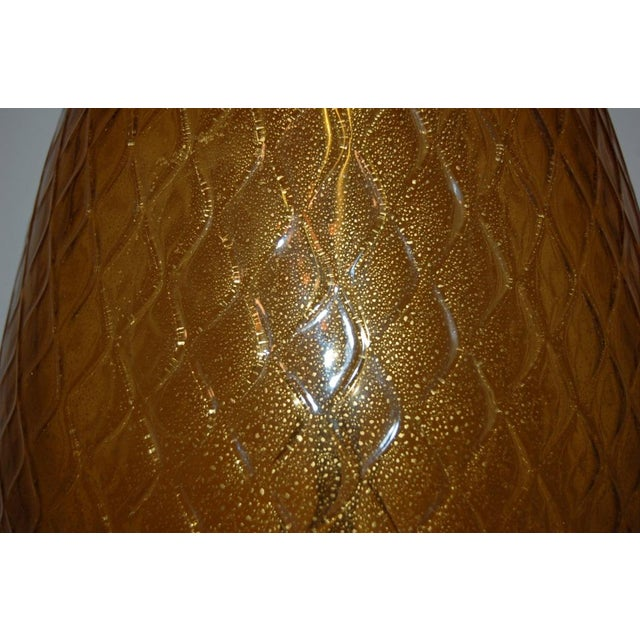 Vintage Murano Glass Pineapple Table Lamp Gold Large For Sale - Image 10 of 10