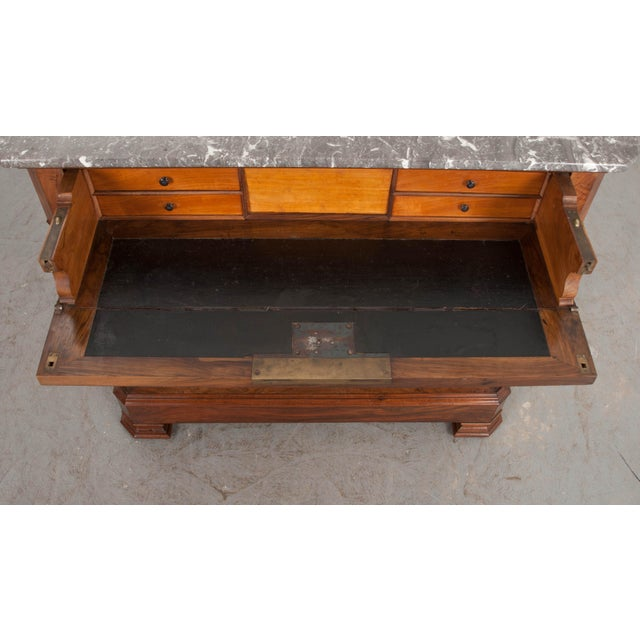 Brown French 19th Century Louis Philippe Walnut Drop-Front Desk For Sale - Image 8 of 12