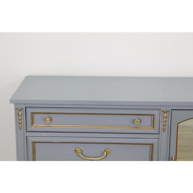 1970s Mid Century Gray Neoclassical Style Dresser For Sale - Image 5 of 11