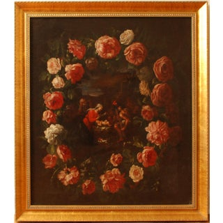 Renaissance Era Nativity With Flowers Guirlande Scene Original Oil Painting For Sale