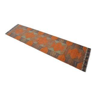 Distressed Oushak Rug Runner - Faded Colors Hallway Rug 2'9″ X 11'4″ For Sale