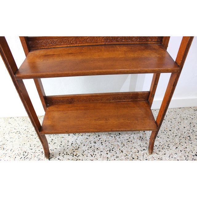 Late 19th Century Antique Victorian Folding Bookcase in Incised Oak For Sale - Image 5 of 13
