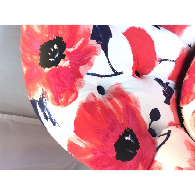 Textile 1990s Vintage Kate Spade Poppies Printed Fabric Swivel Chairs- A Pair For Sale - Image 7 of 10