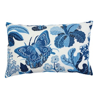 Schumacher X Josef Frank Exotic Butterfly Pillow in Marine For Sale