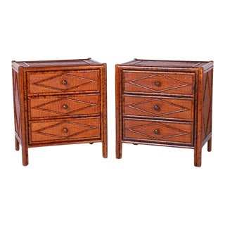 Midcentury Faux Bamboo and Grasscloth Chests or Nightstands - A Pair For Sale