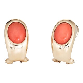Vintage Coral 14 Karat Yellow Gold Earrings For Sale