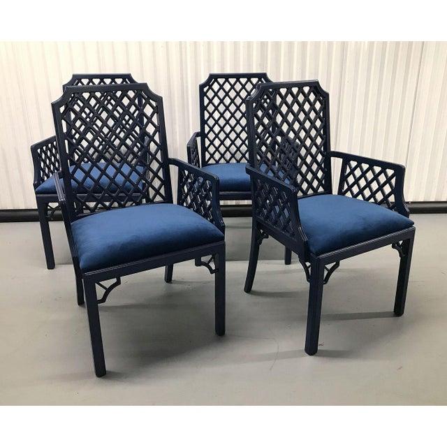 1960s Chinoiserie Lattice-Back Velvet Upholstered Armchairs - Set of 4 For Sale In Atlanta - Image 6 of 11