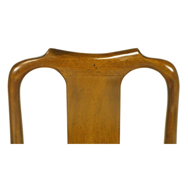 Six Walnut and Tooled Leather Splat-Back Dining Chairs - Image 10 of 10