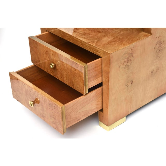 Pair of Sir Edmund Spence Burled Maple Two-Drawer Night or End Tables For Sale In Miami - Image 6 of 10