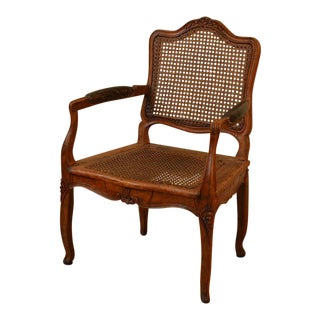 1760s Vintage Caned Louis XV Period Walnut Armchair For Sale