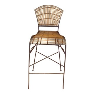 Rattan Bamboo Metal Barstool For Sale