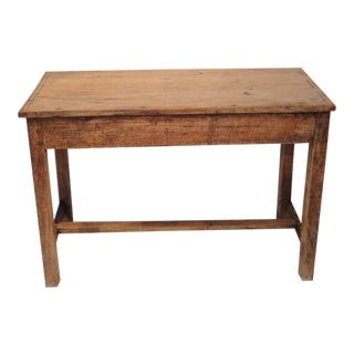Early Primitive 18th Century Handmade Walnut Side Table For Sale