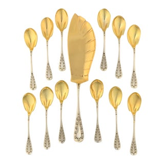 Tiffany Daisy Sterling/Gold Wash 13pc Ice Cream Set For Sale