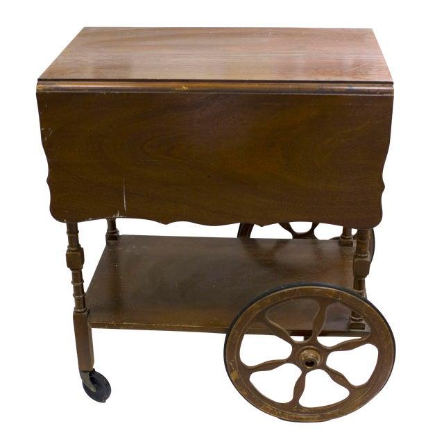 Mid-Century Wood Bar Cart - Image 1 of 5
