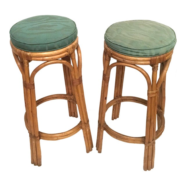 Vintage Rattan Stools or Plant Stands - a Pair For Sale