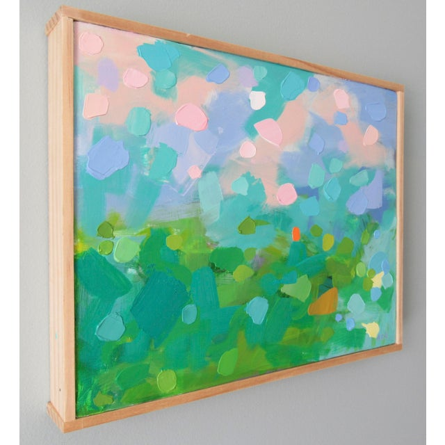 French Country Abstract Study of Green Wheat Fields, Auvers by Anne Carrozza Remick For Sale - Image 3 of 6