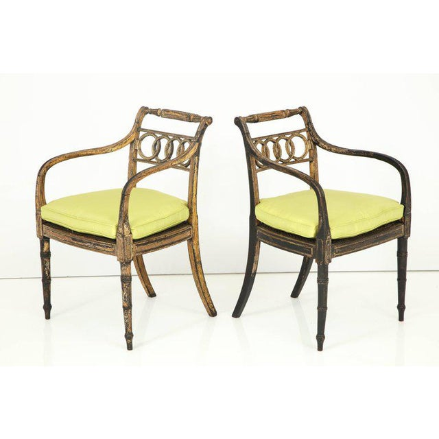 Pair of English Regency Painted and Parcel-Gilt Side Chairs For Sale - Image 4 of 10