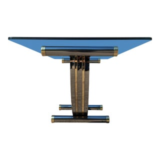 Mid-Century Modern U-Shaped Chrome & Brass Base Thick Glass Top Dining Conference Table For Sale