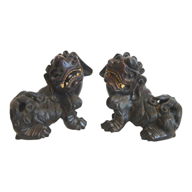 Hand Carved Wooden Foo Dogs- a Pair For Sale