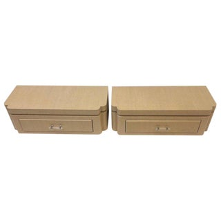 Pair of Grasscloth Floating Nightstands by Steve Chase For Sale